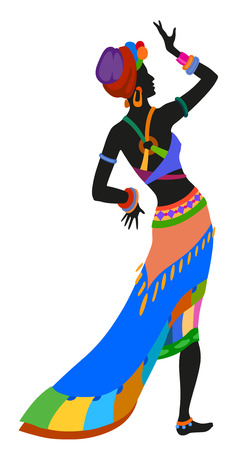 African woman dancing ritual dance in the bright national costume Vector Illustration