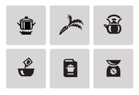 minimalist style: Cooking and kitchen icon set in minimalist style. Black sign on gray background Illustration