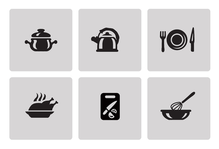 Cooking and kitchen icon set in minimalist style. Black sign on gray background