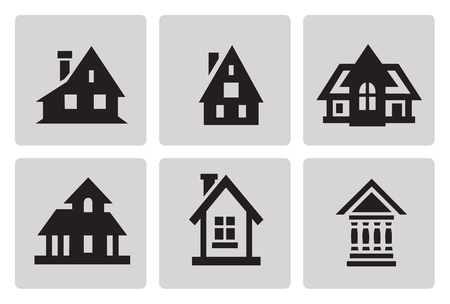 minimalist style: Houses icon set in minimalist style. Black sign on gray background Illustration