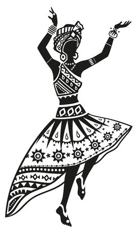 ritual: African woman dancing ritual dance in the bright national costume Illustration
