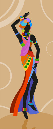 African woman in bright national costume dance dancing with a pitcher Illustration