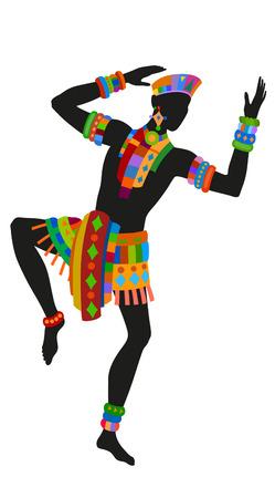 baile afro: Africano danza ritual de danza en el traje nacional brillante Vectores