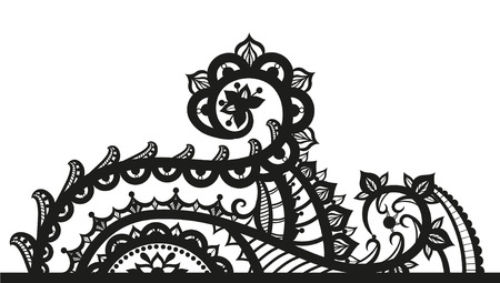 asymmetrical: Lace ornaments in ethnic style. Element in free form made in vector. Perfect cards for any other kind of design
