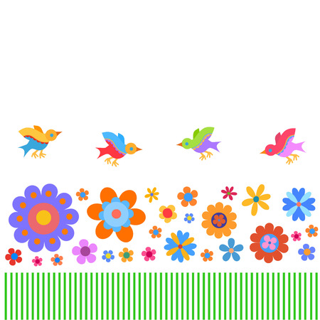 manner: Cheerful, cute flowers and birds painted in a naive manner. Suitable for greeting cards and other kind of design