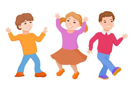 Dancing of little cartoon fun kids Illustration