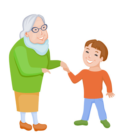 grand sons: Happy cartoon grandmother and her little cartoon grandson communicate together with pleasure Illustration