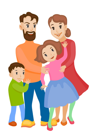 Fun cartoon family in colorful stylish clothes. Father, mother and children all together one family