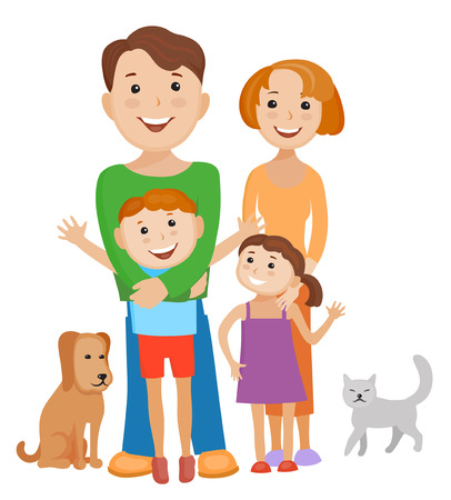 Fun cartoon family in colorful stylish clothes. Father, mother children  and pets all together one family