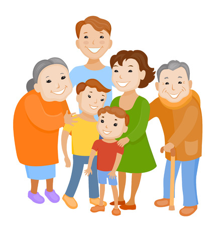 Fun cartoon family in colorful stylish clothes. Father, mother children grandmother and grandfather all together one family Illustration