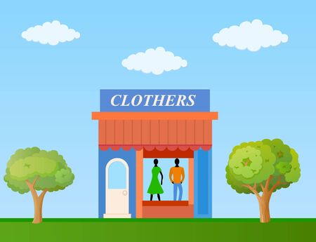 Colorful clothing store building front view on nature background, vector illustration