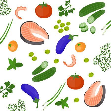 Health food 100% organic background. Vegetable, greenery, salmon, shrimp, mandarin