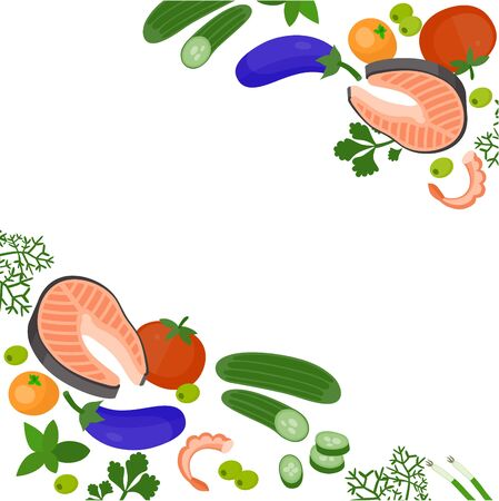 Health food 100% organic background. Vegetable, greenery, salmon, shrimp, mandarin for card or any kind of design