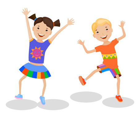 performing arts: Dancing of little cartoon fun kids in colorful clothes