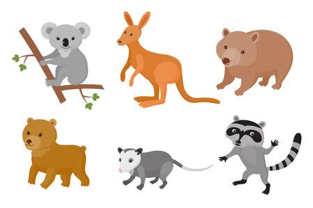 Zoológico de animales salvajes conjunto de colores. Ilustración del vector. Mamíferos aislar sobre fondo blanco
