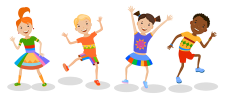 performing arts: Dancing set of little cartoon fun kids in colorful clothes