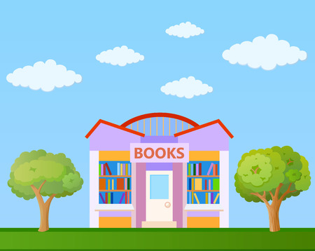 Colorful Book store building front view on nature background, vector illustration