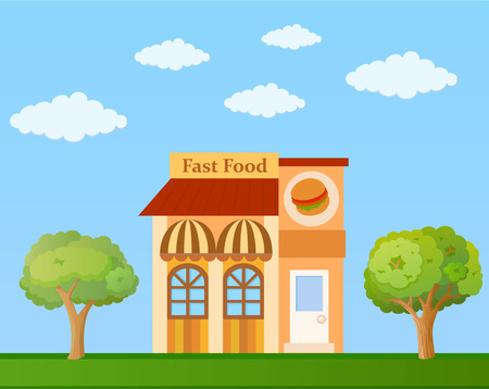 Colorful fast food cafe front view on nature background, vector illustration Illustration