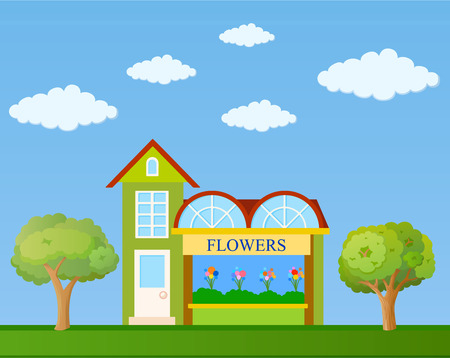 Colorful flower shop building front view on nature background, vector illustration