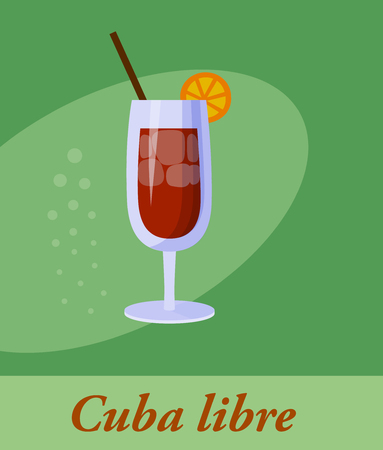 Cuba libre cocktail menu item or any kind of design. Party drink in circle icon vector illustration Illustration