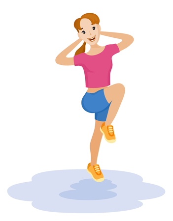Healthy lifestyle of woman, who made fitness exercise. Vector illustration of physical activity for weight loss Illustration