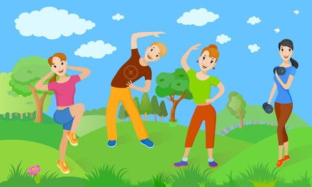 Healthy lifestyle from a group of people who do exercise outdoors. Vector illustration of physical activity on nature background