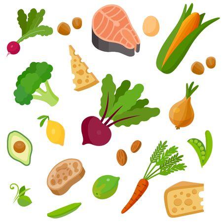 Health food 100% organic background. Vegetable, egg, salmon, nut, cheese; lime, lemon, ciabatta, avocado; green peas