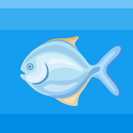 Colorful icon sea fish pompano on the blue background Illustration