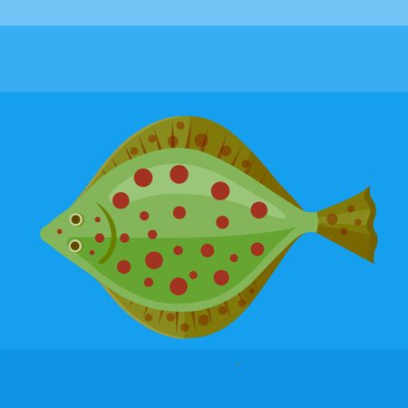 plaice: Colorful icon sea fish plaice on the blue background