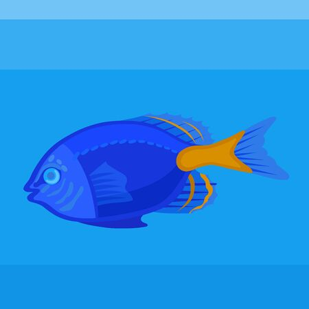 Colorful icon sea fish dumselfish on the blue background Illustration
