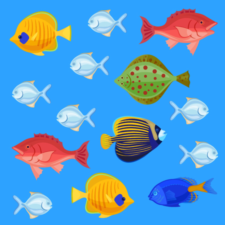 neon fish: Sea and ocean fish colorful bright set. Tropical fhishes for any kind of design