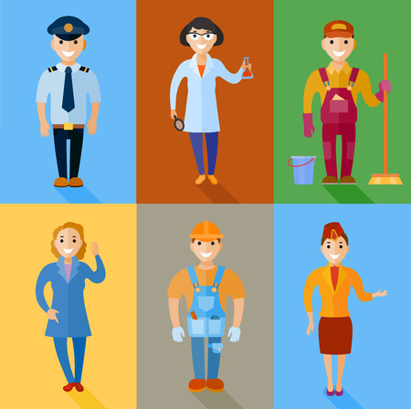 Vector illustration set of men and women of different professions. 6 people type of characters engaged in various sectors