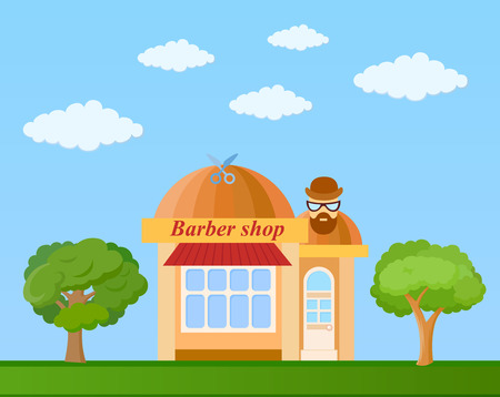 Barber shop in brown shades front view on nature background, vector illustration Illustration