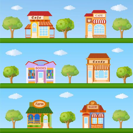 commercial tree service: Building icon set. Colorful store and cafe building front view on nature background, vector illustration