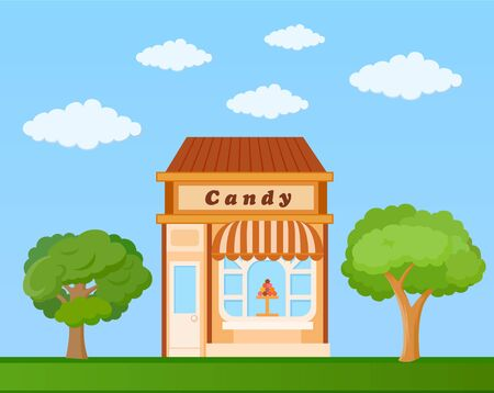 candy store: Colorful candy store front view on nature background, vector illustration Illustration