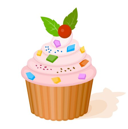 Cake with pink cream, berry and colorful pieces of candy Illustration