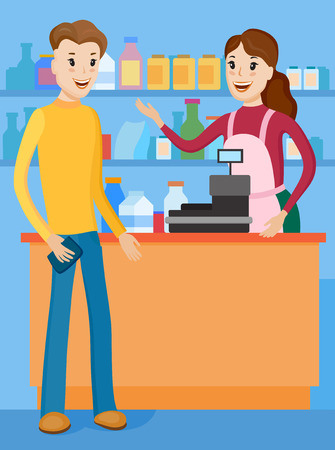 Seller demonstrates buyer shelves with the goods in the store. The seller explains what are the advantages of food products in this store