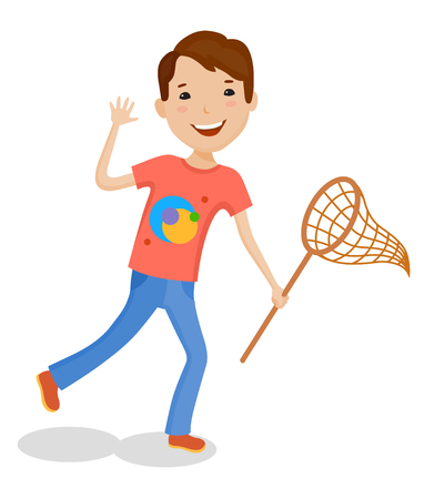 jump for joy: Playing of little cartoon fun boy in bright clothes with net for butterflies