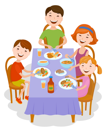 pareja comiendo: Fun cartoon family in colorful stylish clothes dined at the table. Father, mother and children