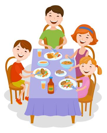 La familia de la historieta de la diversión en ropa con estilo colorida cenó en la tabla. Padre, madre e hijos