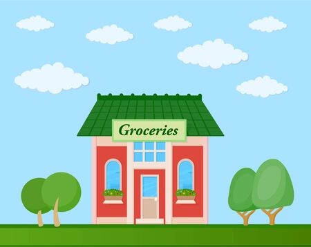 Colorful groceries store front view on nature background, vector illustration Illustration