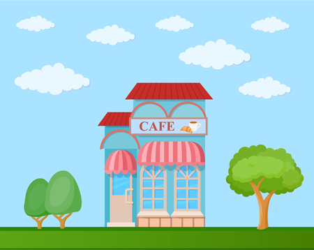 Colorful  cafe front view on nature background, vector illustration