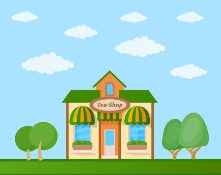 Colorful tea shop front view on nature background, vector illustration Illustration