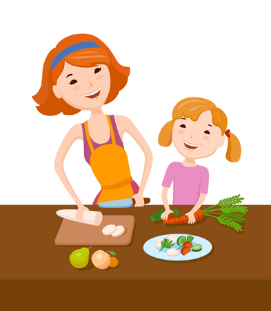 prepare: Mother and daughter prepare dinner together Illustration