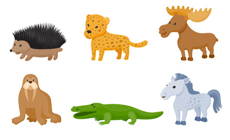 Zoo wild animals colorful set. Mammals and reptile  isolate on white background