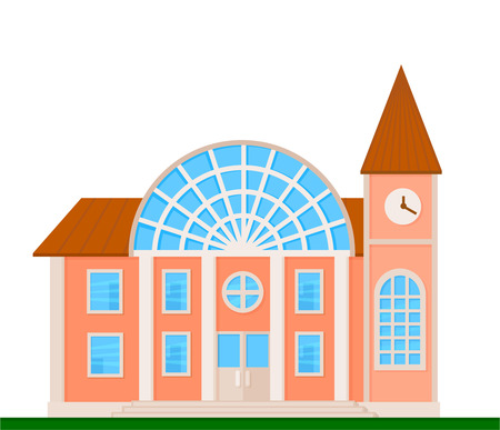 Colorful railway station front view on nature background, vector illustration