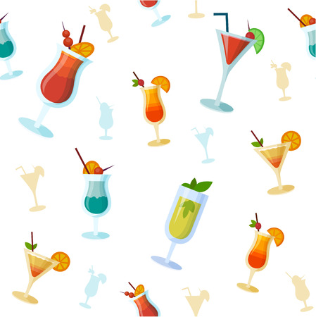 daiquiri alcohol: Seamless background with vector cocktails. Flat style summer cocktails Illustration