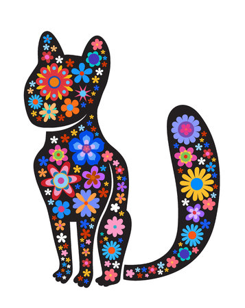 Black silhouette of cat with naive style colorful flowers. Perfect card or any kind of design Illustration