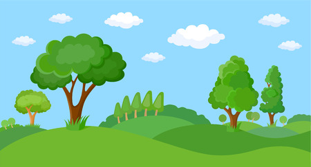 Cartoon fabulous spring landscape. Set of decorative stylized tree for design architectural compositions, and other types of design