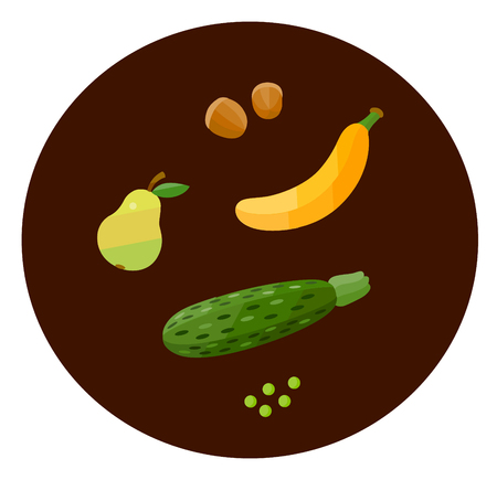 Set of health food icons in a flat style. Vegetables and fruit